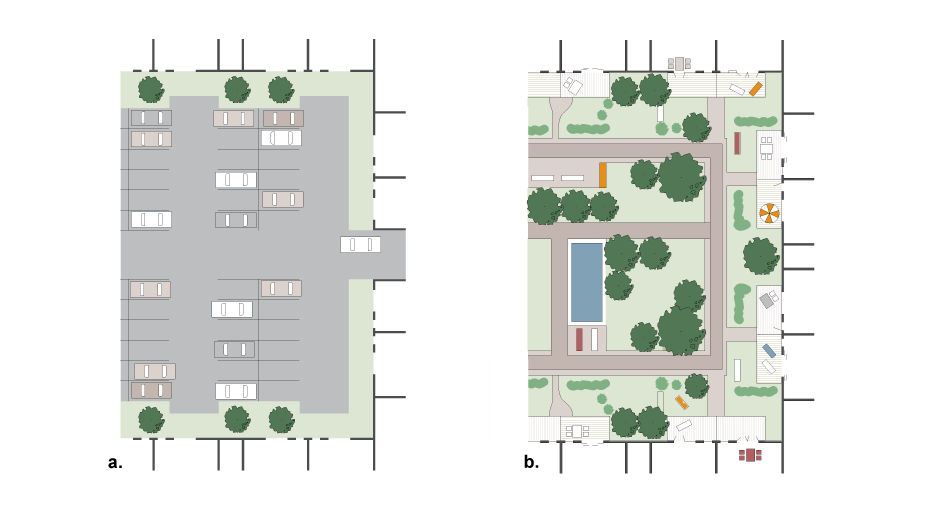<p>a. Unsatisfactory parking arrangement</p><p>b. Underground or under-deck parking with landscaped private and communal outdoor space</p>