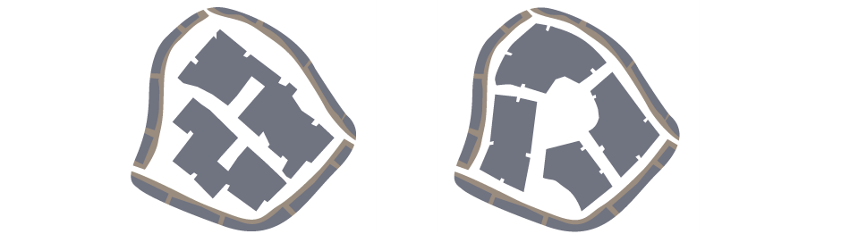 <p>(Left) Incorrect. Ragged, unconsidered edge. Layout generated by internal logic of site</p><p>(Right) Correct. Mismatch of orientation resolved within the site, forming more interesting internal space. Edge forms street with existing development</p>