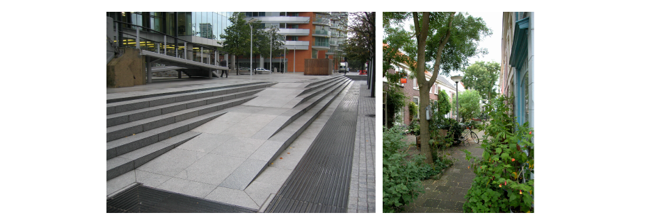 <p>(right) Wheelchair and pushchair ramp incorporated with steps, Paddington Basin, London Image </p><p>(left) Intimate urban environment with street trees</p>