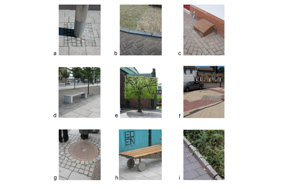 <p>a. Carefully detailed ground fixings </p><p>b. Heritage paving </p><p>c. Crude utility meter casing on footway </p><p>d. Benches and other street furniture designed into the scheme </p><p>e. Trees can have a high impact in the street </p><p>f. Pre-cast concrete blister units create patchwork footways </p><p>g. Thoughtful detailing helps to integrate existing features </p><p>h. Custom-designed street furniture could include artist commissions </p><p>i. Edge detail</p>