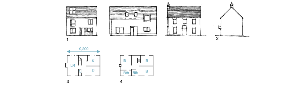 1. Front elevations 2. Side elevations 3. Ground-floor 4. First-floor