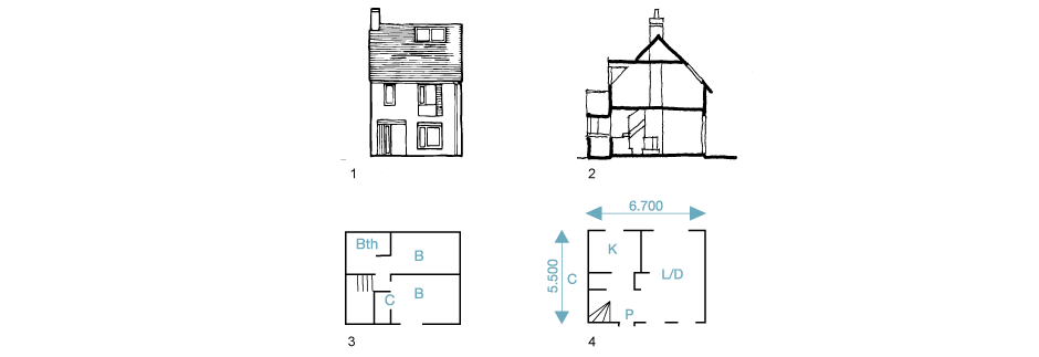 1. Front elevation 2. Section 3. First-floor 4. Ground-floor