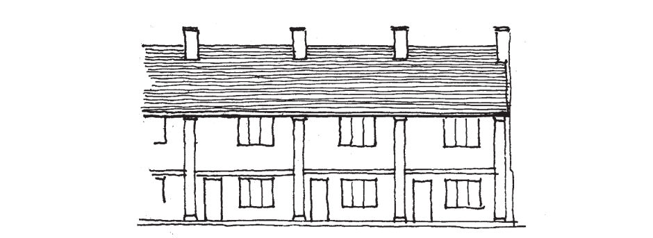 Front elevation with larger openings and facade subdivided to emphasise individual houses