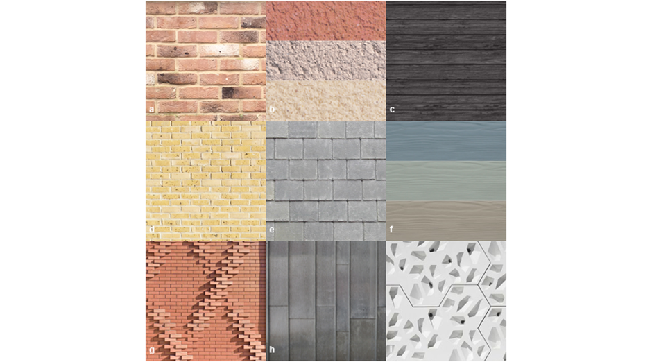 Material Matrix </p><p> Traditional: a. Red Brick b. Traditional Coloured Render c. Black Weather Boarding </p><p>Traditional/ Contemporary Mix: d. Buff Brick e. Slate/ Tiles f. Coloured Weather Boarding </p><p>Contemporary: g. Brick Patterning h. Zinc i. Panelling